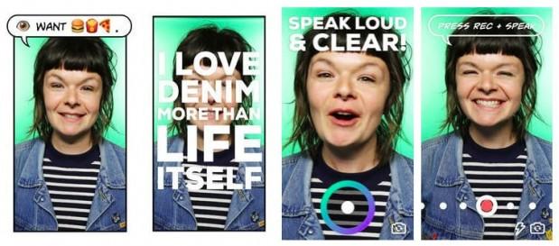 음성을 인식해 텍스트로 변환하고 사진에 얹어 스티커를 만들어 주는 GIPHY SAYS 앱 - GI{HY 제공